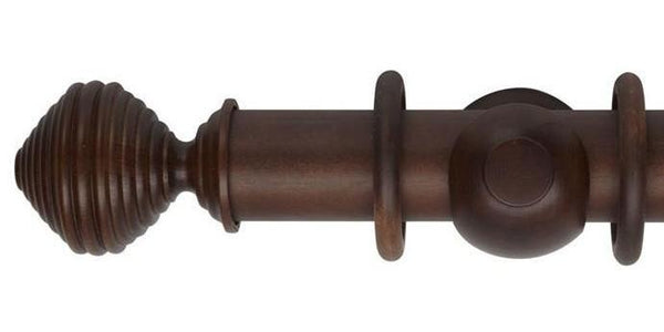 Hallis Museum 55mm Curtain Pole Satin Chestnut Dune Finial-Curtain Poles Emporium