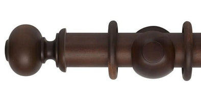 Hallis Museum 55mm Curtain Pole Satin Chestnut Parham Finial-Curtain Poles Emporium