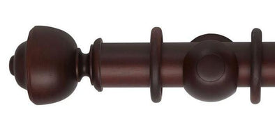Hallis Museum 55mm Curtain Pole Satin Mahogany Asher Finial-Curtain Poles Emporium