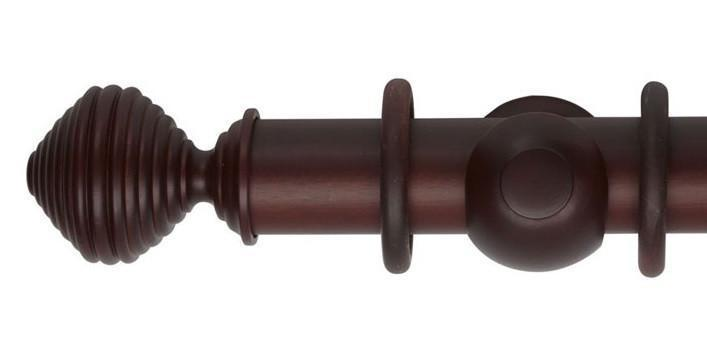 Hallis Museum 55mm Curtain Pole Satin Mahogany Dune Finial - Curtain Poles Emporium