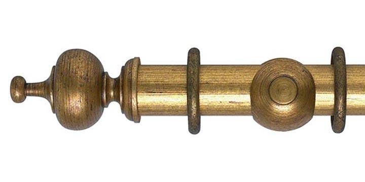 Hallis Museum 55mm Pole Antique Gilt Boudoir Finial - Curtain Poles Emporium