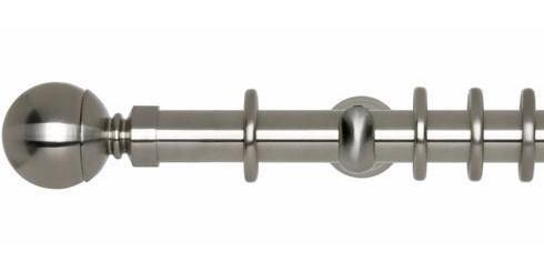 Hallis Neo 28mm Stainless Steel Effect Curtain Pole Ball Finial-Curtain Poles Emporium