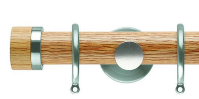 Hallis Neo 35mm Oak Curtain Pole Stud Stainless Steel Cylinder Bracket-Curtain Poles Emporium