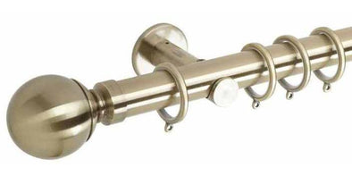 Hallis Neo 35mm Spun Brass Curtain Pole Ball Finial-Curtain Poles Emporium