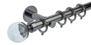 Hallis Neo Style 28mm Crackled Glass Black Nickel Curtain Pole Cylinder Bracket-Curtain Poles Emporium