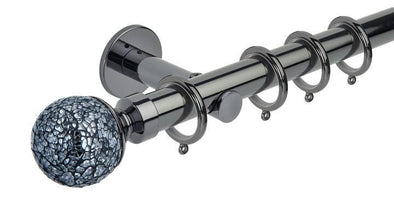 Hallis Neo Style 28mm Mosaic Glass Ball Black Nickel Curtain Pole Cylinder Bracket-Curtain Poles Emporium