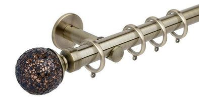 Hallis Neo Style 28mm Mosaic Glass Ball Spun Brass Curtain Pole Cylinder Bracket-Curtain Poles Emporium