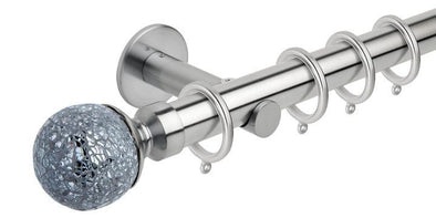 Hallis Neo Style 28mm Mosaic Glass Ball Stainless Steel Effect Curtain Pole Cylinder Bracket-Curtain Poles Emporium