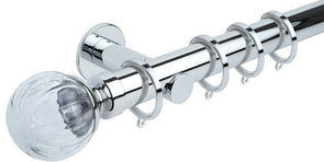 Hallis Neo Style 35mm Clear Pumpkin Chrome Curtain Pole Cylinder Bracket-Curtain Poles Emporium