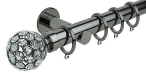 Hallis Neo Style 35mm Jewelled Ball Black Nickel Curtain Pole Cylinder Bracket-Curtain Poles Emporium