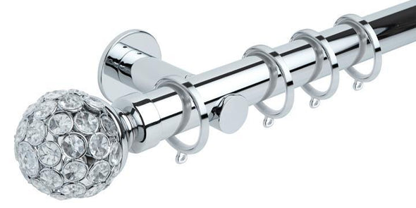 Hallis Neo Style 35mm Jewelled Ball Chrome Curtain Pole Cylinder Bracket-Curtain Poles Emporium