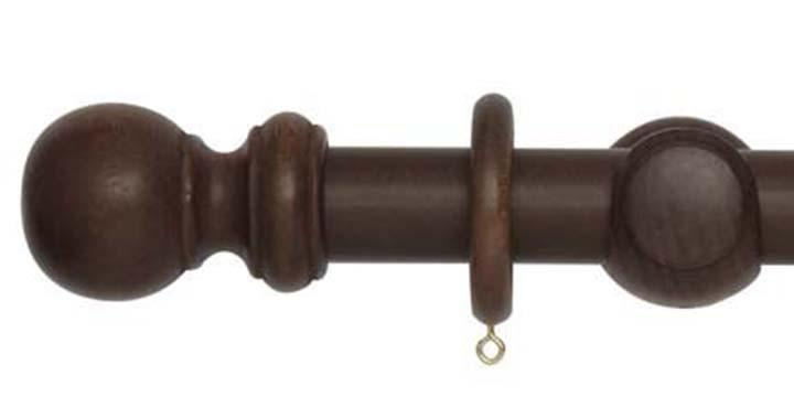 Hallis Woodline 35mm Dark Oak Curtain Pole - Curtain Poles Emporium