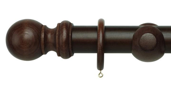 Hallis Woodline 50mm Dark Oak Curtain Pole - Curtain Poles Emporium