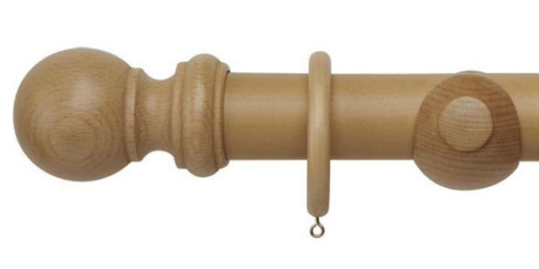 Hallis Woodline 50mm Light Oak Curtain Pole-Curtain Poles Emporium