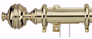 Integra Royal Orb Extendable 38mm Corded Polished Brass Curtain Pole-Curtain Poles Emporium