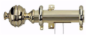 Integra Royal Orb Extendable 38mm Corded Polished Brass Reeded Curtain Pole-Curtain Poles Emporium