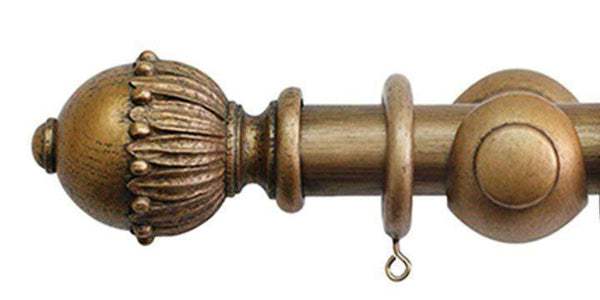 Jones Cathedral 30mm Antique Gold Curtain Pole Wells finial - Curtain Poles Emporium