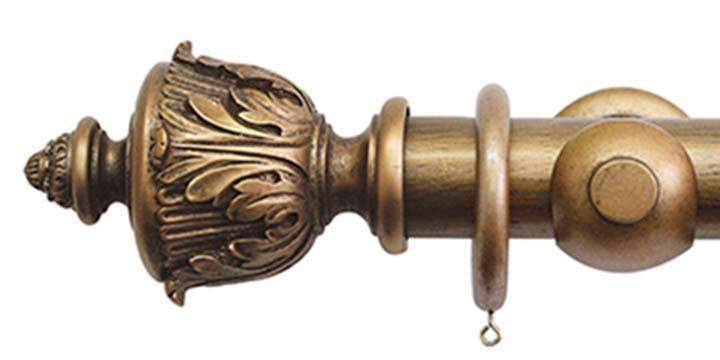Jones Florentine 50mm Antique Gold Curtain Pole Acanthus Finial - Curtain Poles Emporium