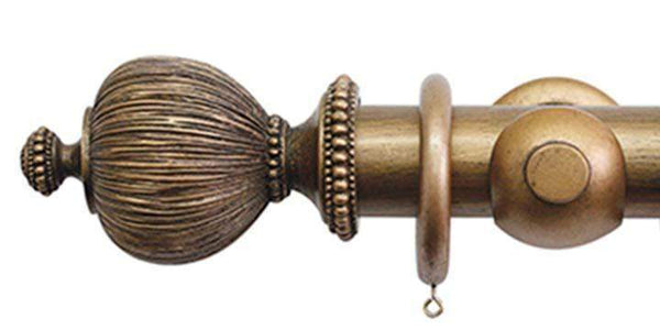 Jones Florentine 50mm Antique Gold Curtain Pole Pleated Finial - Curtain Poles Emporium