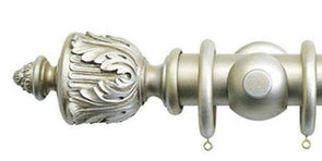 Jones Florentine 50mm Champagne Silver Curtain Pole Acanthus Finial-Curtain Poles Emporium