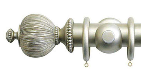Jones Florentine 50mm Champagne Silver Curtain Pole Pleated Finial - Curtain Poles Emporium