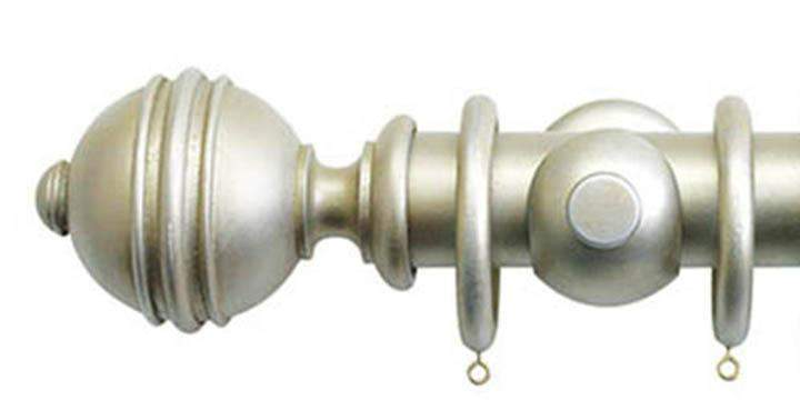 Jones Florentine 50mm Champagne Silver Curtain Pole Ribbed Ball Finial - Curtain Poles Emporium