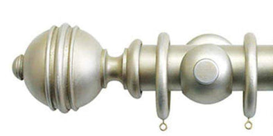Jones Florentine 50mm Champagne Silver Curtain Pole Ribbed Ball Finial-Curtain Poles Emporium