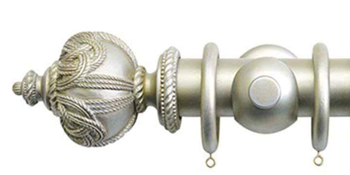 Jones Florentine 50mm Champagne Silver Curtain Pole Rope Finial - Curtain Poles Emporium