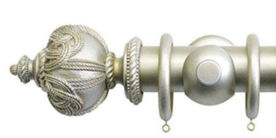 Jones Florentine 50mm Champagne Silver Curtain Pole Rope Finial-Curtain Poles Emporium