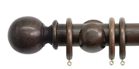 Jones Florentine 50mm Oak Curtain Pole Ball Finial-Curtain Poles Emporium