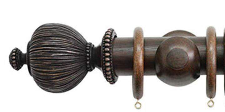 Jones Florentine 50mm Oak Curtain Pole Pleated Finial - Curtain Poles Emporium