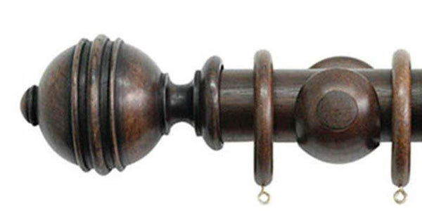 Jones Florentine 50mm Oak Curtain Pole Ribbed Ball Finial - Curtain Poles Emporium
