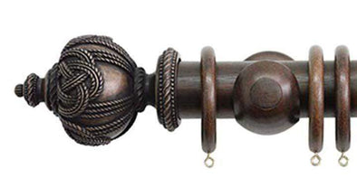 Jones Florentine 50mm Oak Curtain Pole Rope Finial-Curtain Poles Emporium