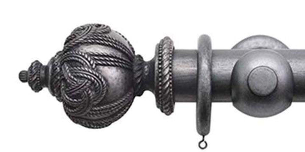 Jones Florentine 50mm Pewter Curtain Pole Rope Finial - Curtain Poles Emporium