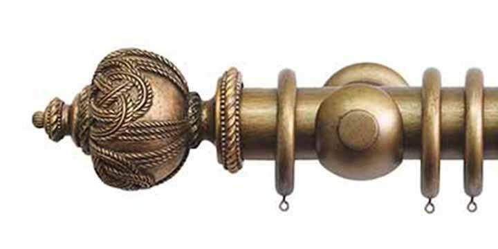 Jones Grande 63mm Antique Gold Curtain Pole Rope Finial - Curtain Poles Emporium