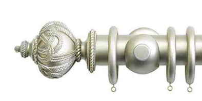 Jones Grande 63mm Champagne Silver Curtain Pole Rope Finial-Curtain Poles Emporium