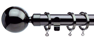 Jones Interiors Cosmos Black Nickel Effect Curtain Poles Ball Finial-Curtain Poles Emporium