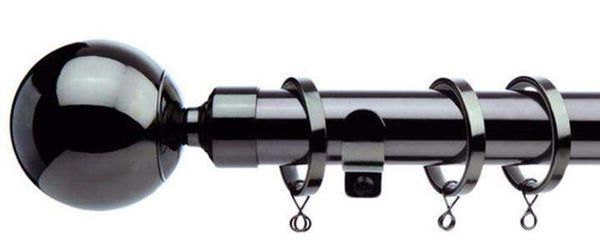 Jones Interiors Cosmos 28mm Black Nickel Effect Curtain Poles Ball Finial - Curtain Poles Emporium