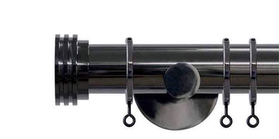 Jones Interiors Strand 35mm Black Nickel Curtain Pole Ribbed End Stopper-Curtain Poles Emporium