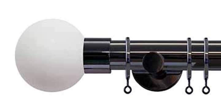 Jones Interiors Strand 35mm Black Nickel Curtain Pole Stone Painted Finial - Curtain Poles Emporium