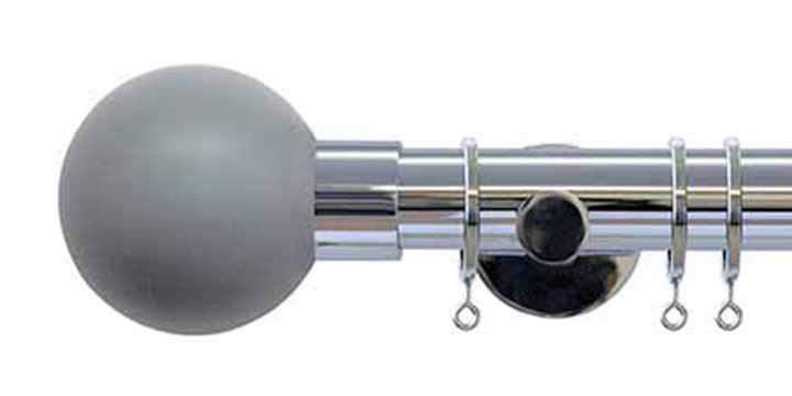 Jones Interiors Strand 35mm Chrome Curtain Pole Lead Painted Finial - Curtain Poles Emporium