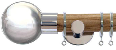 Jones Interiors Strand 35mm Light Oak Curtain Pole with Chrome BallFinial-Curtain Poles Emporium
