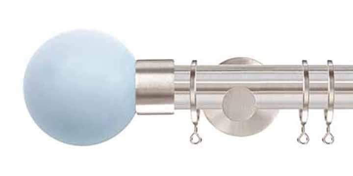 Jones Interiors Strand 35mm Matt Nickel Curtain Pole Sky Painted Finial - Curtain Poles Emporium