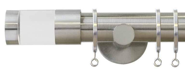 Jones Interiors Strand 35mm Matt Nickel Curtain Pole with Acrylic Cylinder Finial-Curtain Poles Emporium