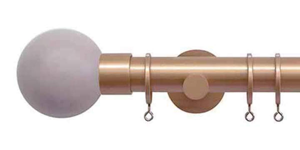 Jones Interiors Strand 35mm Rose Gold Curtain Pole Heather Painted Finial-Curtain Poles Emporium