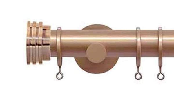 Jones Interiors Strand 35mm Rose Gold Curtain Pole Ribbed End Stopper-Curtain Poles Emporium