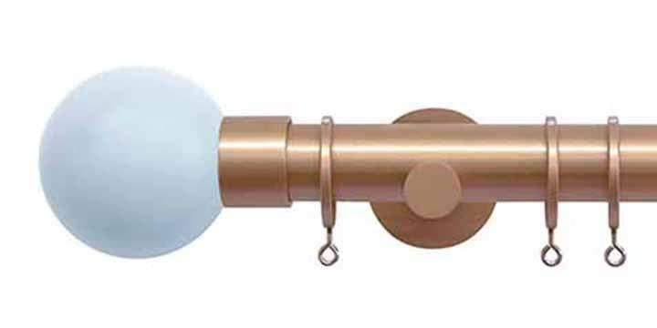 Jones Interiors Strand 35mm Rose Gold Curtain Pole Sky Painted Finial - Curtain Poles Emporium