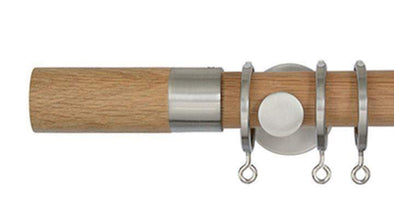 Jones Lunar 28mm Oak Curtain Pole Barrel finial-Curtain Poles Emporium