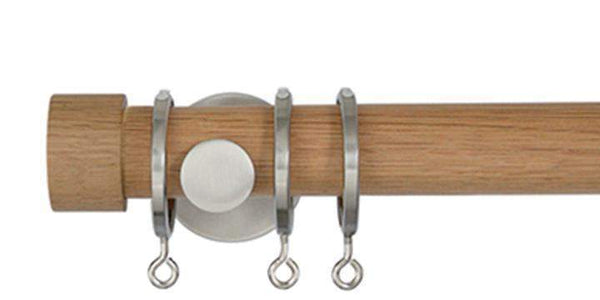 Jones Lunar 28mm Oak Curtain Pole End Cap finial - Curtain Poles Emporium