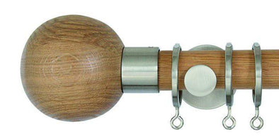 Jones Lunar 28mm Oak Curtain Pole Sphere finial-Curtain Poles Emporium